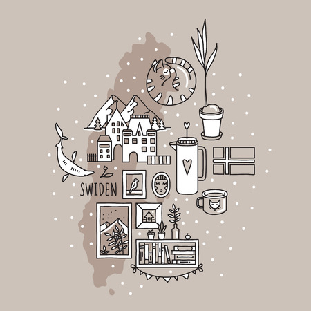 Swiden doodle set. Landmarks, traditional symbols of Scandinavian culture - snow, mountains, cozy home, hygge. Flag and map of the country. Vector.