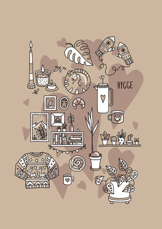 Hygge is a Danish living concept. Vector template with hand drawn illustrations cozy home things: candles, gloves, sweater, tea, cat, pastries, houseplants. Sketch style.