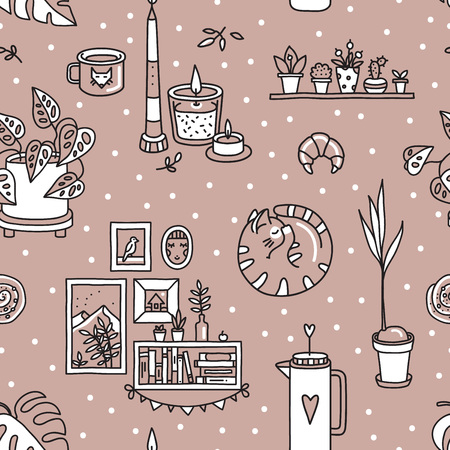 A Vector seamless pattern with Hygge concept and cozy home things like candles, gloves, sweater, tea, cat, pastries, houseplants. Danish living concept. Greeting card template, hand drawn style.