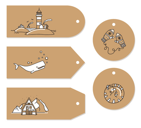Set of doodle greeting tag. Vector hand drawn cute icons. Scandinavian style. Lighthouse, mountains, mittens, cat, whale, mountains, sea, house. Stock Illustratie