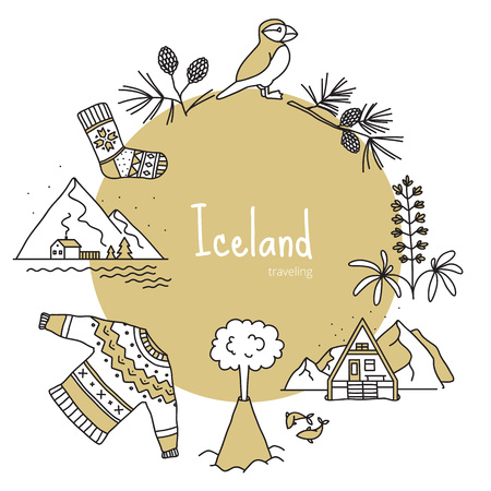 Iceland, banner with scandinavian items like mountains, puffin, knitted socks and sweater, fish, cones, volcano, lupine, fir. Vector illustration, handmade style, doodle. Иллюстрация