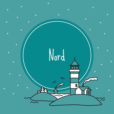 Scandinavian banner with lighthouse, fjord. Vector illustration, handmade style, doodle.