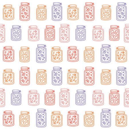 Vector seamless pattern with pickles, jam and cans. Handmade style, doodle.