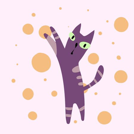 Vector illustration with cats. Cute kids print.