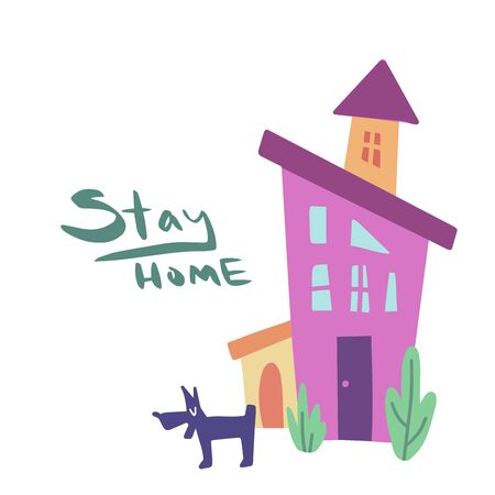 Cute house vector illustration. Stay home handwritten lettering. Quarantine or self-isolation. Health care concept. Fears of getting coronavirus. Global viral epidemic. Vetores