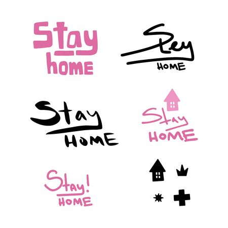 Stay home vector illustration. Handwritten lettering. Friendly and motivational poster. Quarantine or self-isolation. Health care concept. Fears of getting coronavirus. Global viral epidemic.