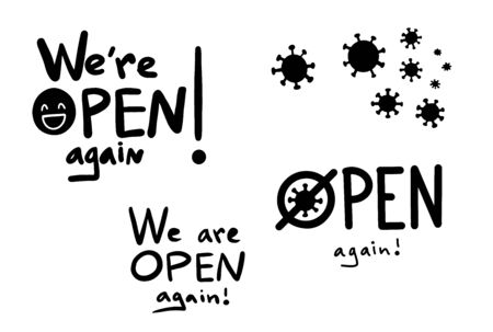We are open again vector sign for shops and services quarantine time, welcoming lettering in hand drawn style, bold font inscription for advertising or information messages.