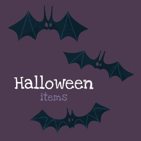 Halloween stock illustration with Halloween stuff: bats. Hand drawn style. For party decoration, posters, invitations, social media posts.