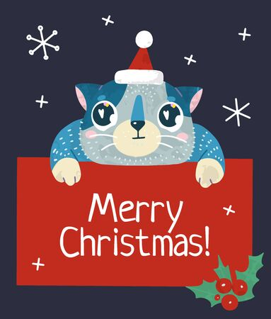 Christmas and New Year holiday stock illustration with cute cat and snow. Hand drawn style. For greeting card, winter posters, tags, invitations, labels, social media posts and scrapbooks.