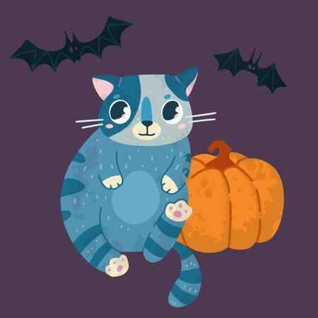 Halloween stock illustration with cute cat in a witch hat, bats and pumpkin. Hand drawn style. For party decoration, posters, invitations, labels, social media posts.