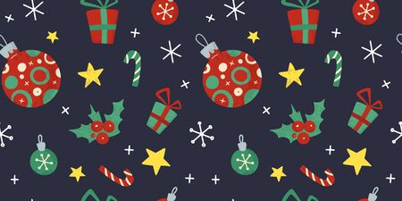 Christmas and New Year holiday seamless pattern with Christmas stuff. Hand drawn  style.  For for wrapping paper, background, textile, social media posts.