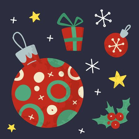 Christmas and New Year holiday vector stock illustration with Christmas stuff. Hand drawn  style.  For greeting card, winter posters, tags, invitations, labels, social media posts and scrapbooks.