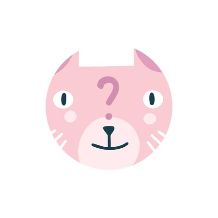 Highlights Stories cover, avatar, emoji: FAQ, question. Cute funny cat face. Cartoon animal muzzle isolated on white background. Flat vector illustration, hand drawn style. Editable icon.