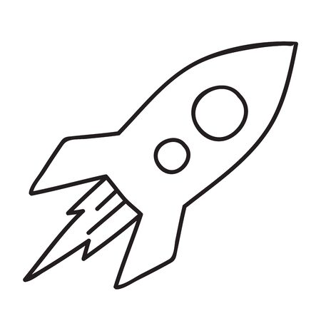 Vector stock illustration with single object, space theme, hand drawn, doodle style. Sample element isolated on white. Line contour, outline. 向量圖像