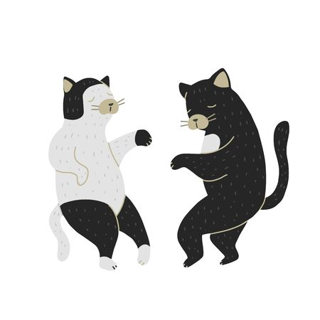 Dancing Cats isolated on white background. Couple at the party. Flat cartoon vector illustration, hand drawn style.