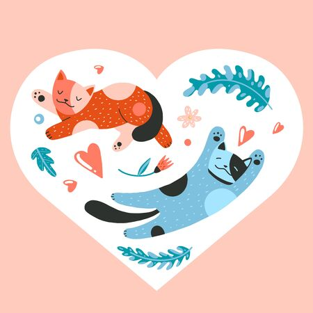 Valentine. Flat cartoon vector illustration with cats, flowers, leaves, hearts, cozy things, hand drawn style, isolated on white. Positive, love, beauty and wellness concept.