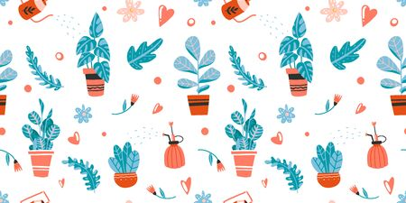 Seamless pattern with house plants care: watering, spraying. Hand drawn isolated element vector illustration. Home decor and gardening. Indoor botany. Modern design elements. House flowers. Illustration