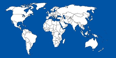 continental united states: World map blue Stock Photo