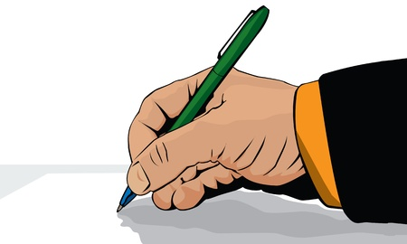 Graphic hands with pen on white Stock Photo - 8929000