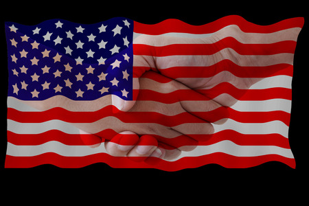 serviceable: United States flag on shake the hand background. Stock Photo