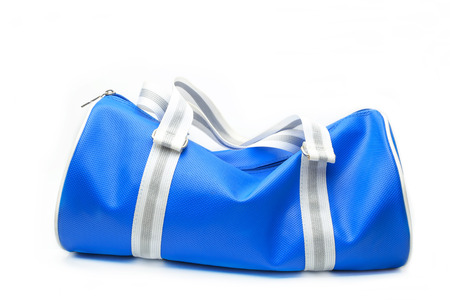 topicality: Coles up of blue bag on white background.