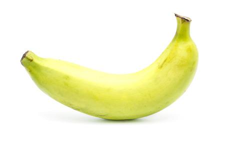 Single banana on white background. Stock Photo