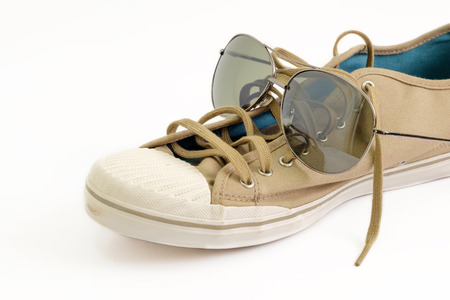 dressy: Shoes and glass on white background