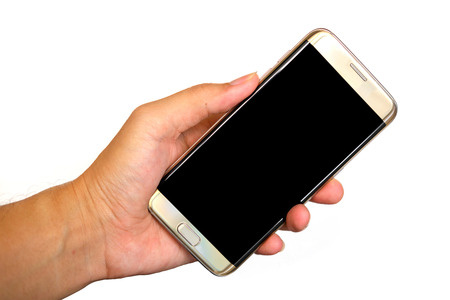 left hand: Smartphone in left hand on white background.