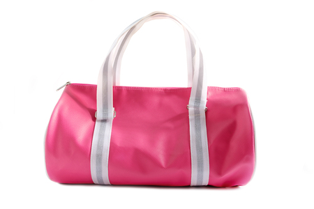 Pink bag on white background.