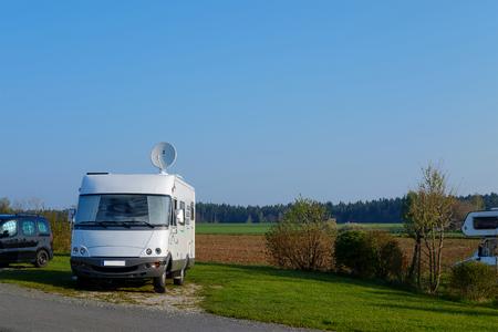 Camping caravan parking in camping site.