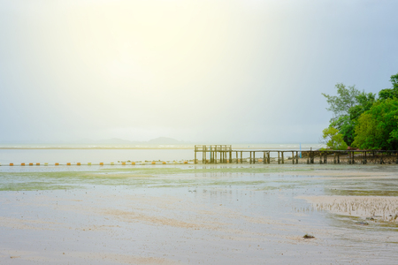 island: Empty beach sea on sunshine in the morning. Stock Photo