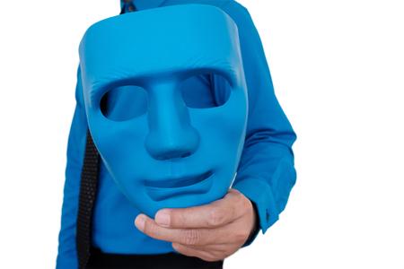Businessman showing blue mask on white background. Stock Photo
