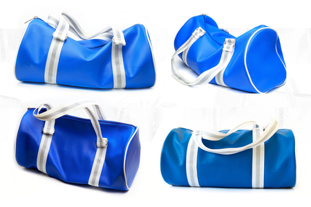 Blue bag four style on white background.