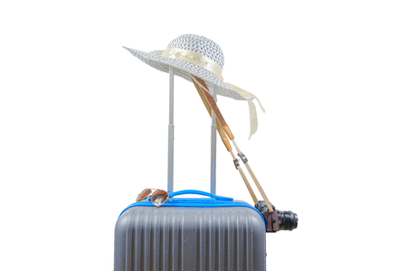 Luggage, hat, sunglasses and camera on white background with clipping path. Baggage of women when journey to travel.