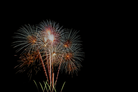 Fireworks in festival on black background.
