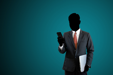 Businessman using phone for contact business on isolated background with clipping path.