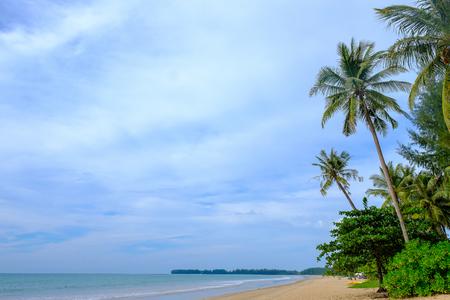 Beautiful beach have coconut tree and blue sky in Thailand. 版權商用圖片