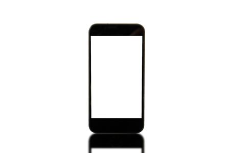 Phone and shadow reflect on white background