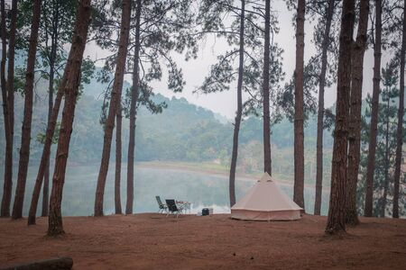 One tent is camping among the trees near the river.