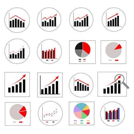 Vector icon set about graph business chart.