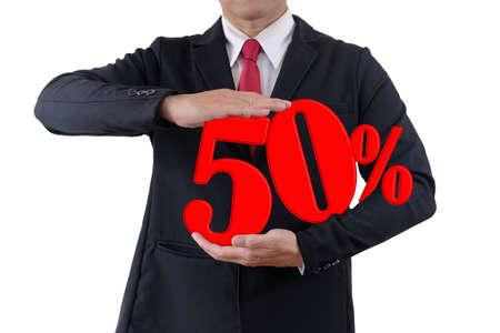 Businessman holds number tell discount fifty percent on white background