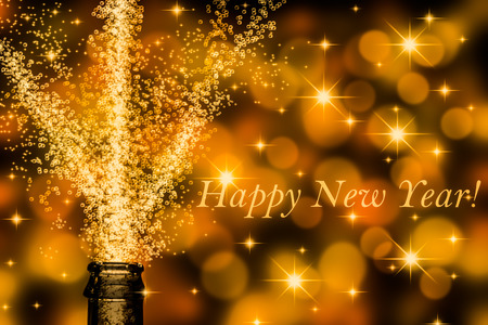 brisk champagne with slogan happy new year