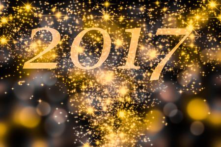 2017 on festive background with fireworks Banco de Imagens