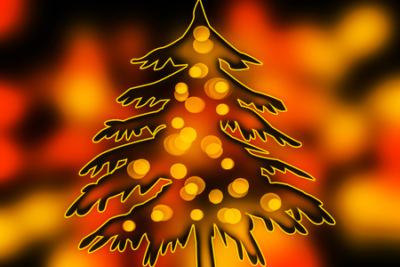 adorned: with lights adorned fir Stock Photo