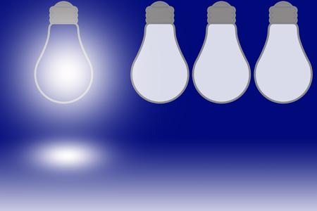 synonym: one bright light bulb and three dark bulbs Stock Photo
