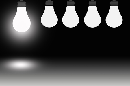synonym: one light bulb is shining