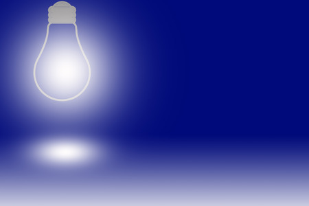 source of light: a glowing light bulb against a blue background Stock Photo