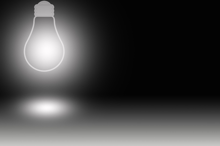 synonym: one light bulb against dark background Stock Photo