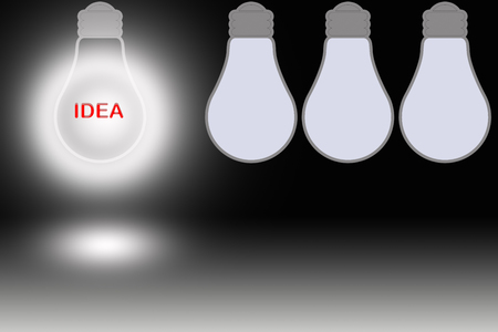 synonym: red text Idea in a glowing bulb