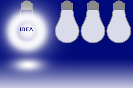 synonym: text idea in a glowing light bulb Stock Photo